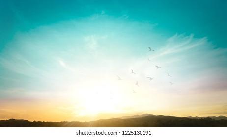 Mountain autumn sunrise background