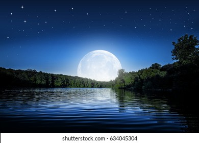 mountain. backgrounds night sky with stars and moon.