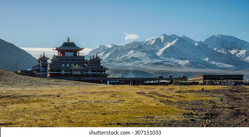 Mountain behind temple in Qinghai, China.