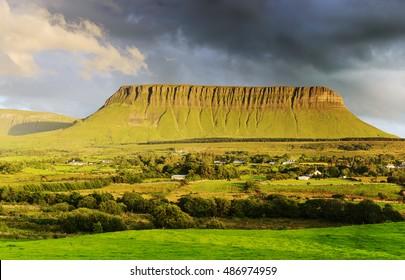 Mountain benbulben in the background of thunderclouds. County Sligo. Ireland