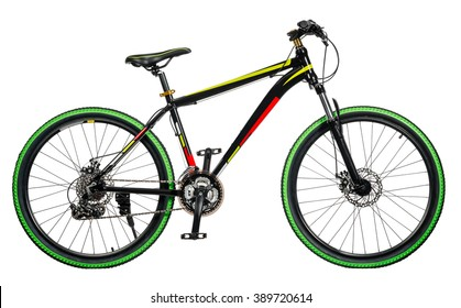 Mountain bicycle on white background