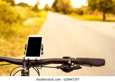mountain bicycle and Smartphone mount  on handlebar