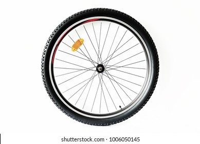 Mountain bicycle wheel isolated on white background