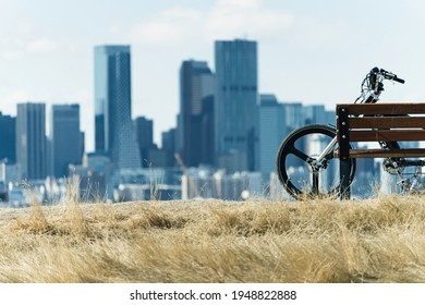 mountain bike with calgary skyline in the background