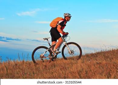 Mountain Bike cyclist riding single track outdoor