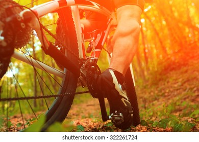 Mountain Bike cyclist riding single track outdoor