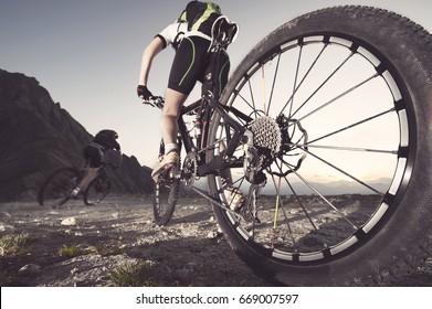mountain bike downhill action sport