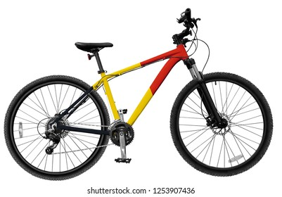 Mountain bike with france flag frame on white isolated background