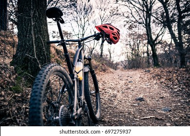 Mountain bike and helmet in autumn woods. MTB bicycle and helmet resting on tree in forest. Adventure and extreme cycling concept, sport fitness motivation and inspiration.