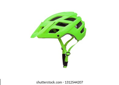 Mountain bike helmet in green color isolated on white