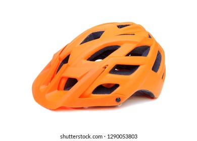 Mountain bike helmet in orange color isolated on white
