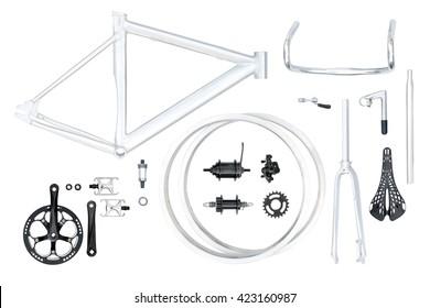 Mountain bike parts set isolated on white background