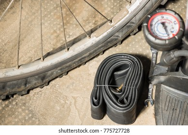 Mountain bike with punctured flat tire. Concept of bad luck and unforeseen
