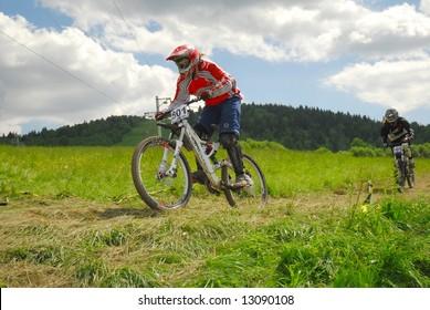 mountain bike race in a forest in Polomka,Slovakia
