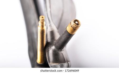 Mountain bike and road bike bicycle inner tube side by side