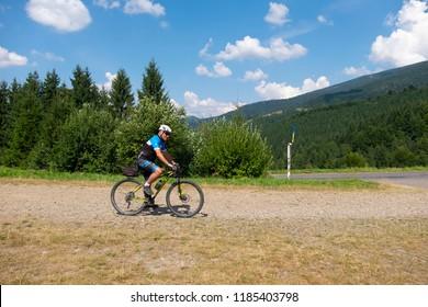 mountain biker, Carpathian Mountains, Ukraine, 20 aug 2018