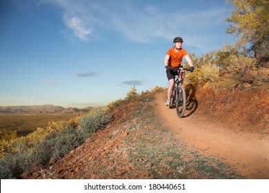 Mountain Biker on Desert Trail
