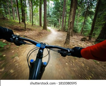 Mountain biker riding on flow single track trail in green forest, POV behind the bars view of the cyclist.