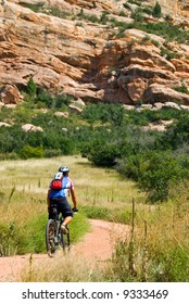 mountain biker tackles a challenging trail