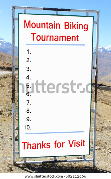 Mountain Bikers Tournament. Blank Rules and regulations on long billboard.