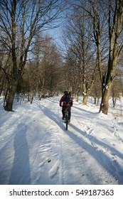 Mountain biking in winter. Sunny day and good snow