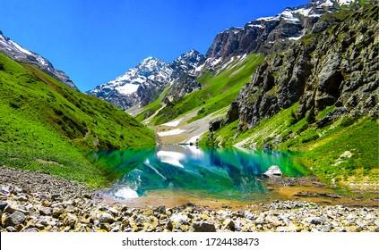 Mountain blue lake water landscape. Lake in mountains. Mountain lake view. Mountain lake landscape