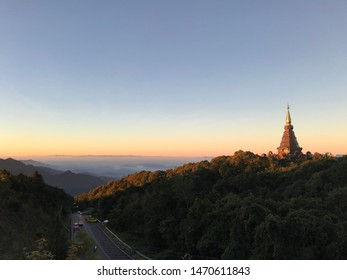 mountain and blue sky in the sunset,Sea of mist at Doi Inthanon Chiang Mai, Thailand