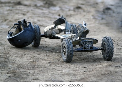mountain board on dirt background