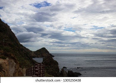 Mountain boulder and ocean cloudscape scenic view in Qui Nhon Vietnam