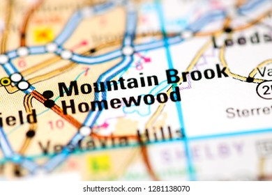 Mountain Brook. Alabama. USA on a map