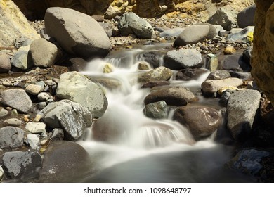 Mountain brook with stones, long exposition