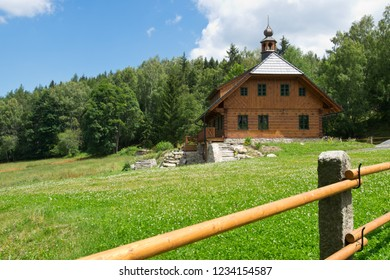 Mountain cabin in summer in the Bohemian Forest. Czech Republic.
