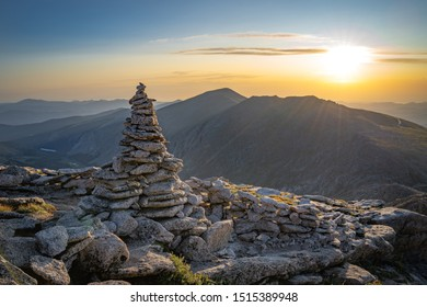 Mountain Cairn at Sunrise in the Alpine