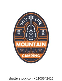 Mountain camping vintage isolated badge. Outdoor explorer sign, touristic expedition label, nature hiking illustration