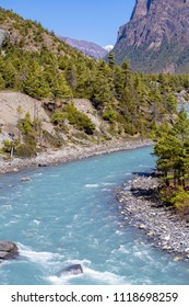 Mountain Canyon Valley. Beautiful river landscape and mountain forest in Nepal. Trekking route to Annapurna region, Himalayas. Holidays, recreation. Travel background. Beautiful nature landscape