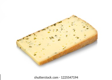 Mountain cheese with herbs white isolated