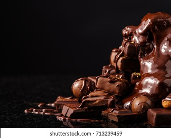 Mountain of chocolate and chocolates candys.
