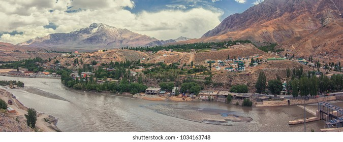 Mountain City of Kargil located in the bed of High Himalayan Mountain amidst Srinagar Leh Highway, Ladakh region, Jammu and Kashmir, India
