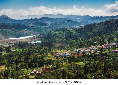 mountain and city landscape with clouds in Ooty, Tamil Nadu, India