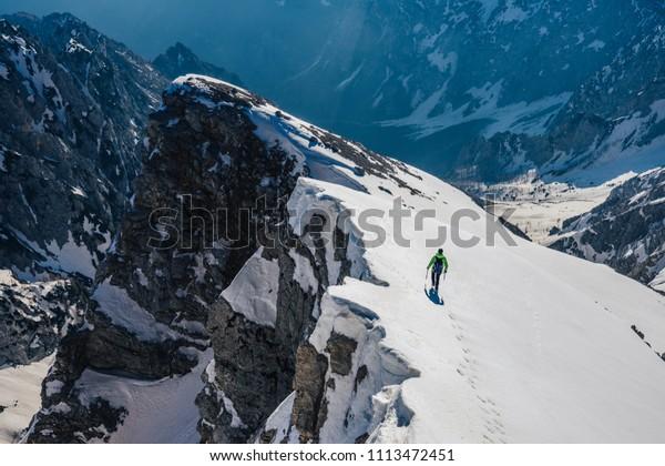 Mountain Climber On Snow Knife Edged Stock Photo Edit Now