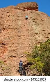 Mountain Climbers in Pinnacles National Park, California