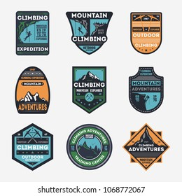 Mountain climbing vintage isolated label set. Outdoor adventure symbol, mountain explorer sign, touristic expedition badge, nature hiking and trekking logo. People travel activity illustration