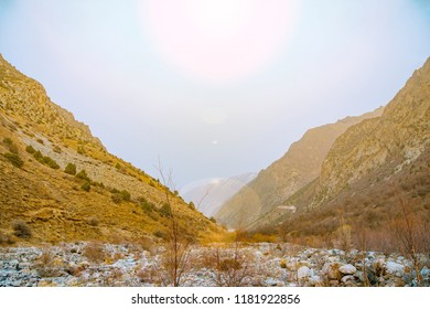 Mountain in the cloud and fog. Mountain peaks in fog scenery landscape.