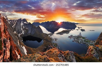 Mountain coast landscape at sunset, Norway
