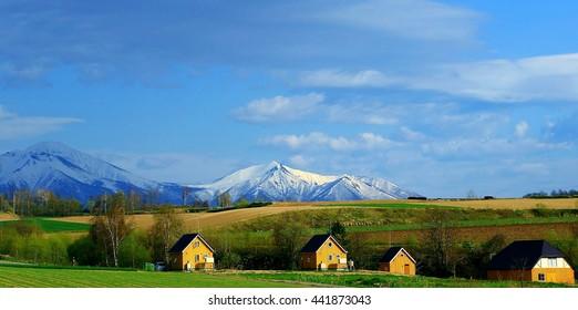 mountain cottage in biei-hokkaido