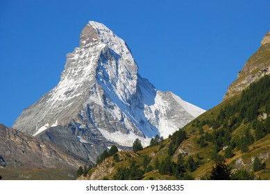Mountain country Switzerland. Autumn. Mont Blanc.
