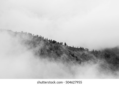 Mountain covered in a fog