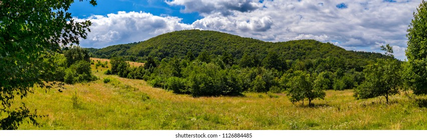 mountain, covered with green trees, under a blue sky with clouds