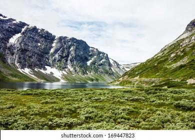 Mountain Dalsnibba lake. Landscape, Geiranger fjord, Norway