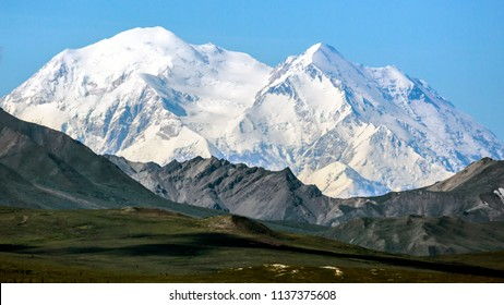 The mountain 'Denali', formerly known as Mount McKinley, in Denali National Park and Preserve.